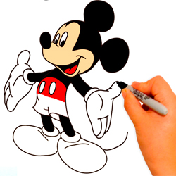 dibujar-colorear-paso-a-paso-mickey-mouse