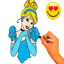 dibujar-y-colorear-a-cenicienta-paso-a-paso
